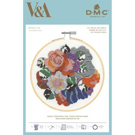 Coffret kit à broder avec tambour 18 cm DMC - Déco composition