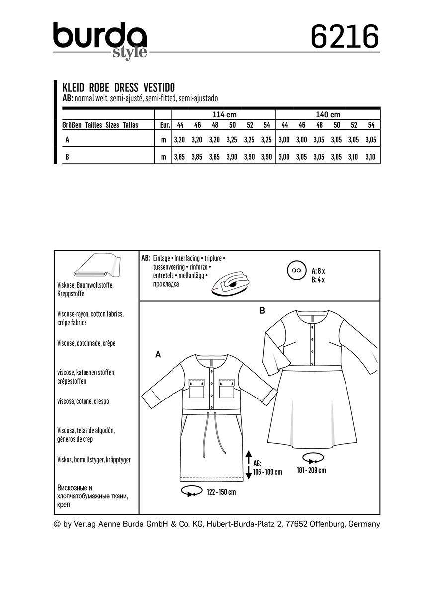 Patron de robe - Burda 6216