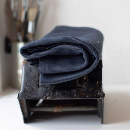 Tissu jersey bord côte côtelé 2x1 BIO - Bleu foncé