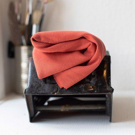 Tissu jersey bord côte côtelé 2x1 BIO - Corail