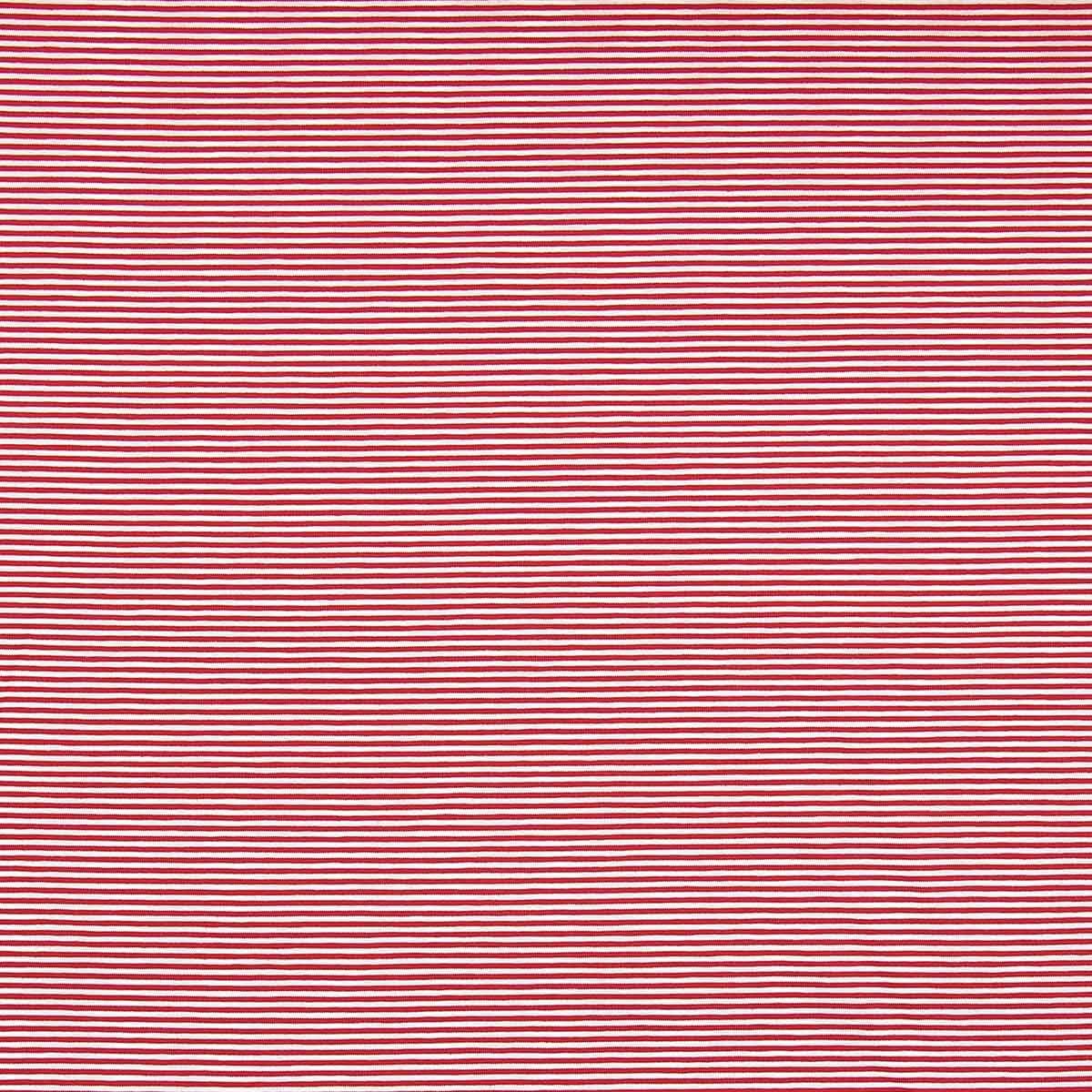 Tissu jersey marinière - Rayures fines rouges