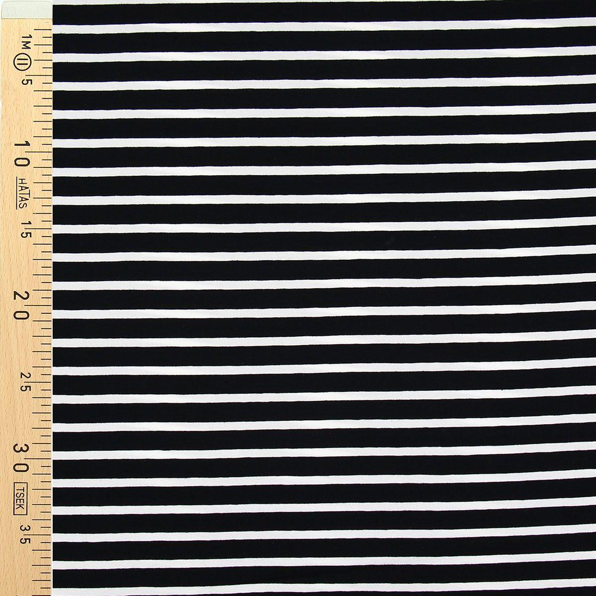 Tissu jersey marinière - Rayures larges noires