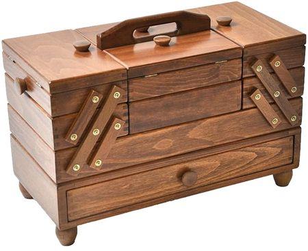 Travailleuse bois couture avec tiroir Marron