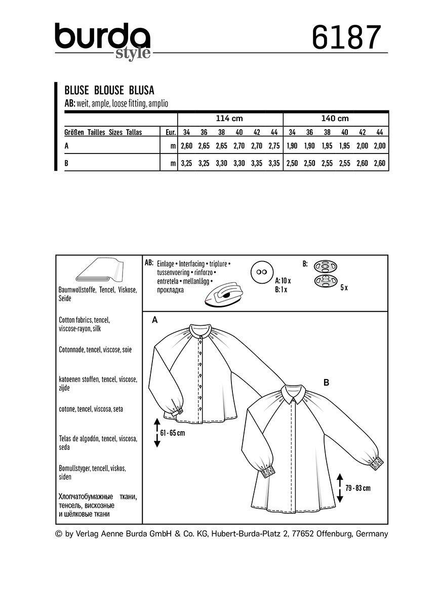 Patron de blouse - Burda 6187