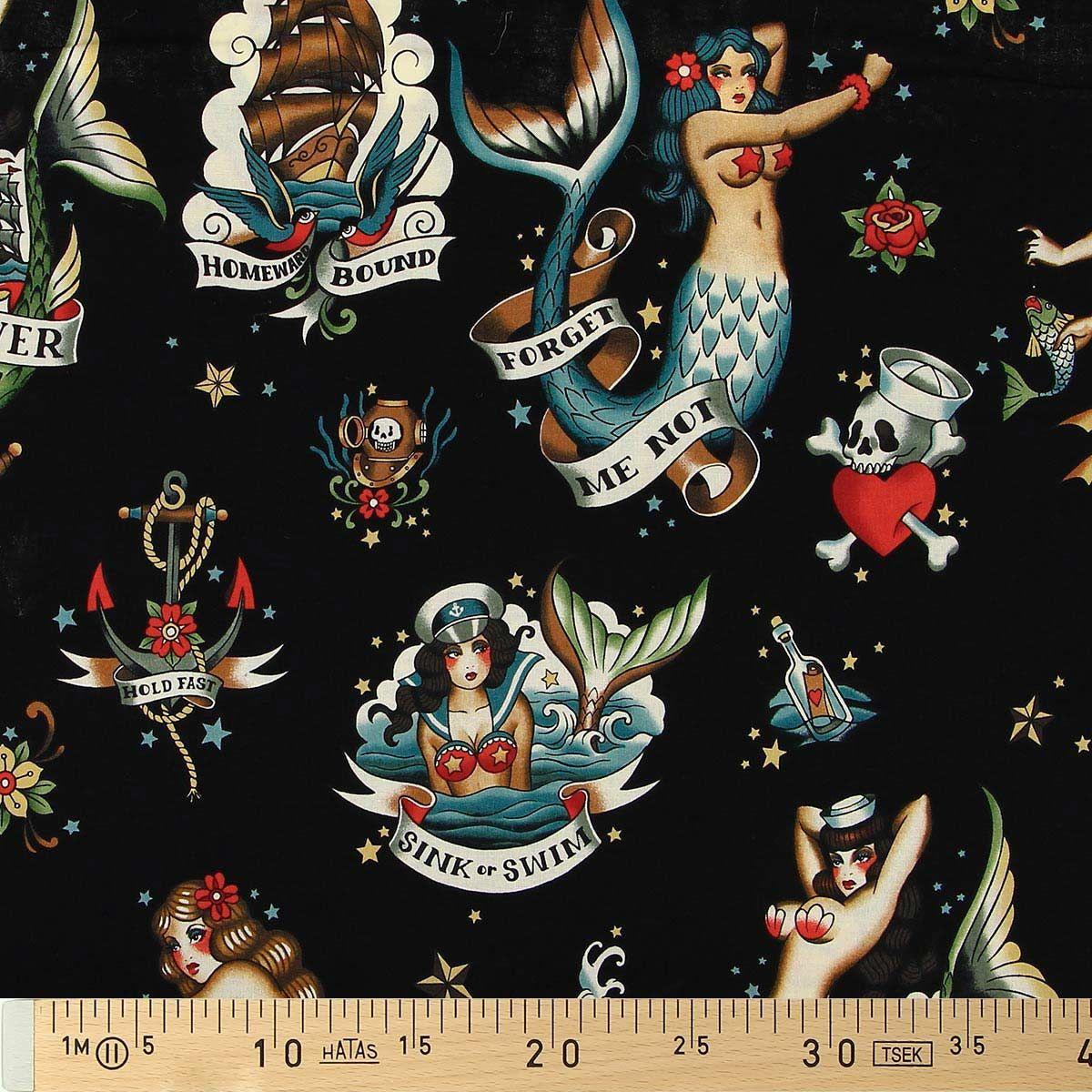 Tissu coton Alexander Henry - Forget me not - Noir