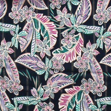 Tissu viscose - Fleurs et rayures lurex - Bleu marine