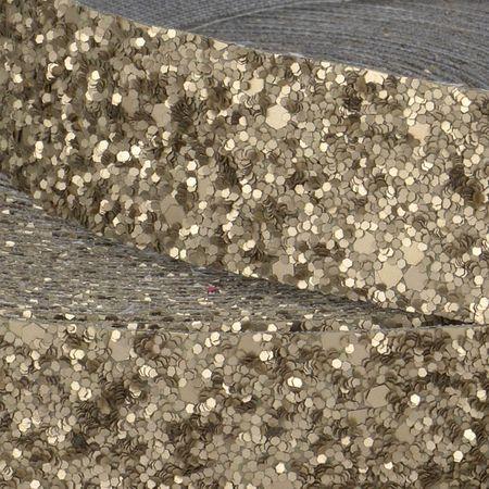 Bande glitter au mètre - Or clair mat
