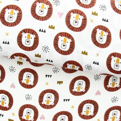 Tissu double gaze - Lion crinière marron