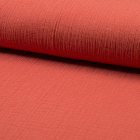 Tissu double gaze de coton - Corail foncé