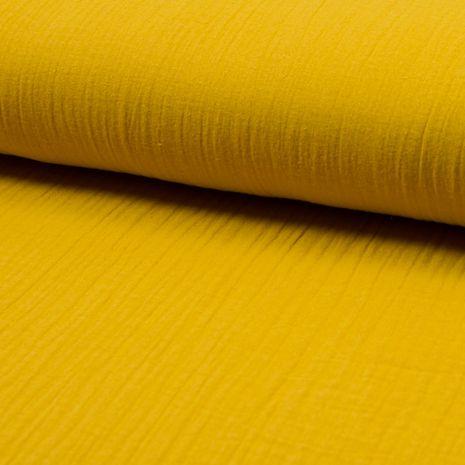Tissu double gaze de coton - Curry