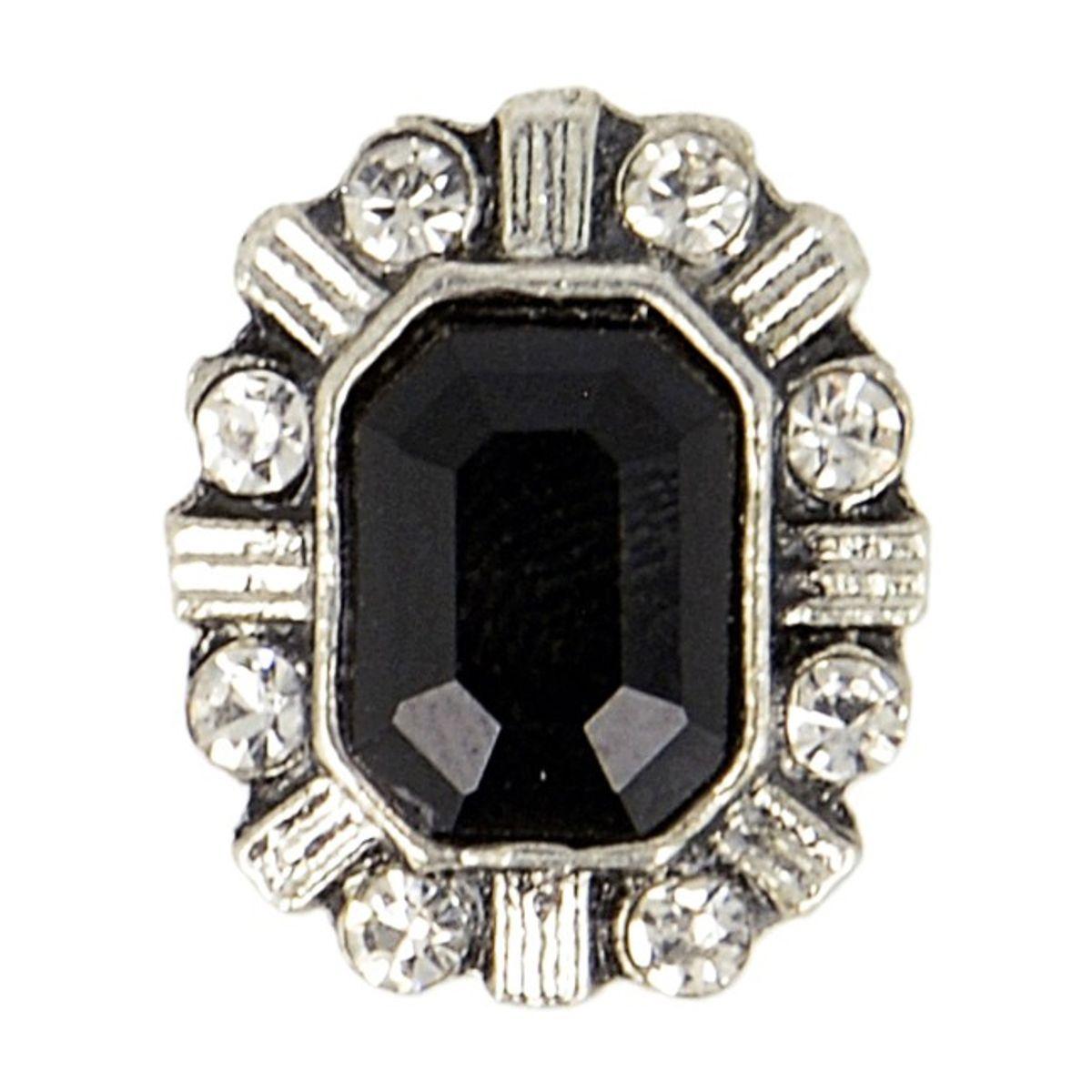 Bouton métal bijoux strass - Noir
