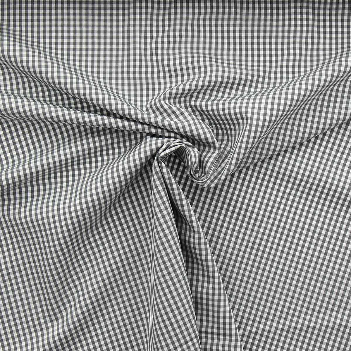 Tissu popeline de coton - Vichy petits carreaux - Gris
