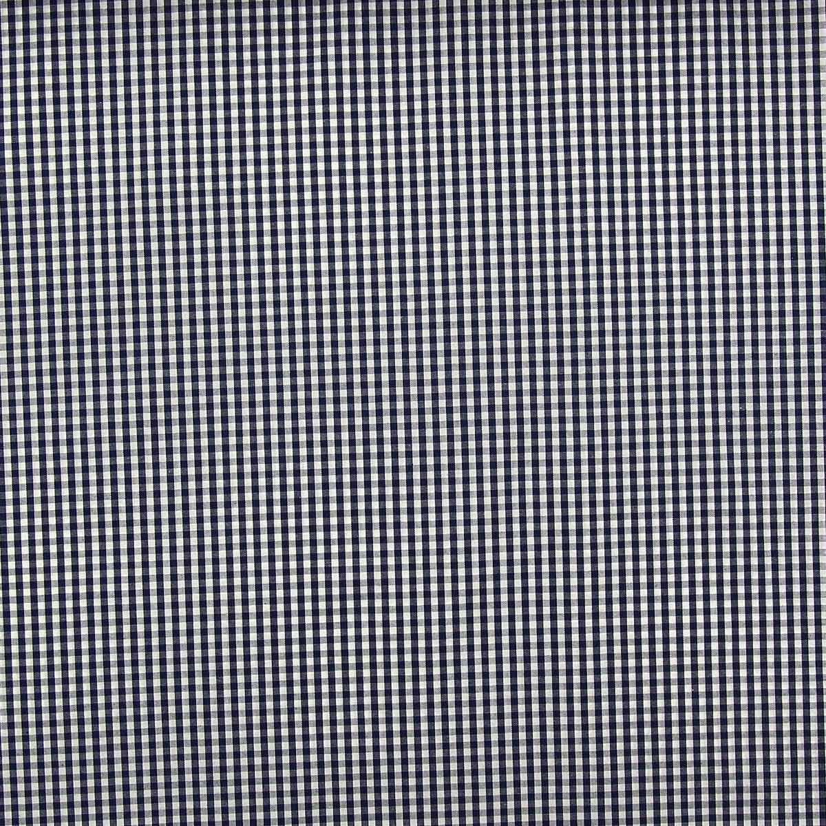 Tissu popeline de coton - Vichy petits carreaux - Bleu marine
