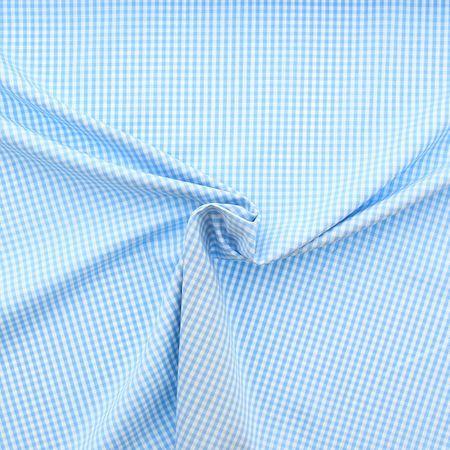 Tissu popeline de coton - Vichy petits carreaux - Bleu ciel