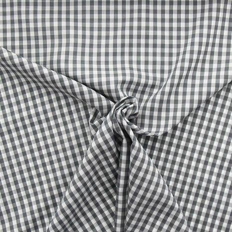 Tissu popeline de coton - Vichy carreaux moyen - Gris