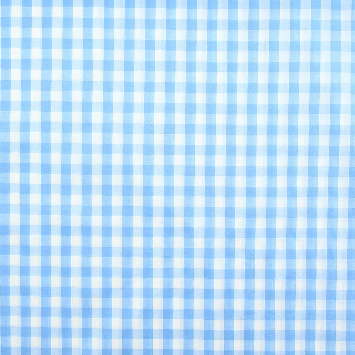 Tissu popeline de coton - Vichy grands carreaux - Bleu ciel