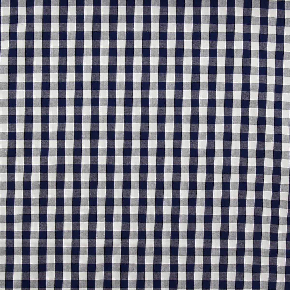 Tissu popeline de coton - Vichy grands carreaux - Bleu marine