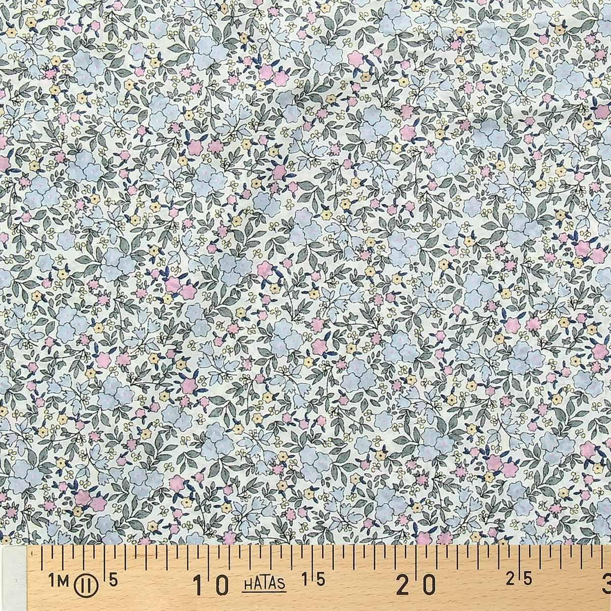 Tissu voile de coton fleuri BIO - Fleuri ciel et rose