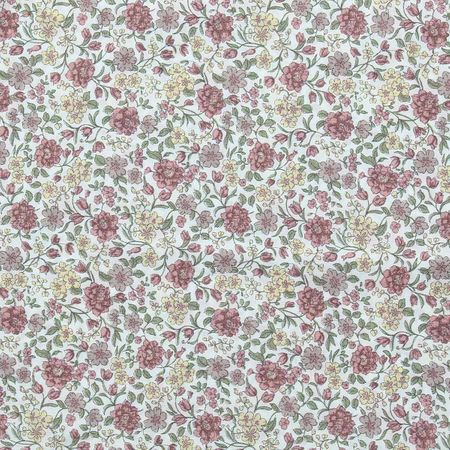 Tissu voile de coton fleuri BIO - Fleuri ton vieux rose