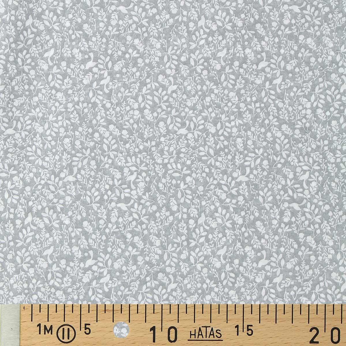 Tissu voile de coton fleuri BIO - Oiseaux et feuilles gris