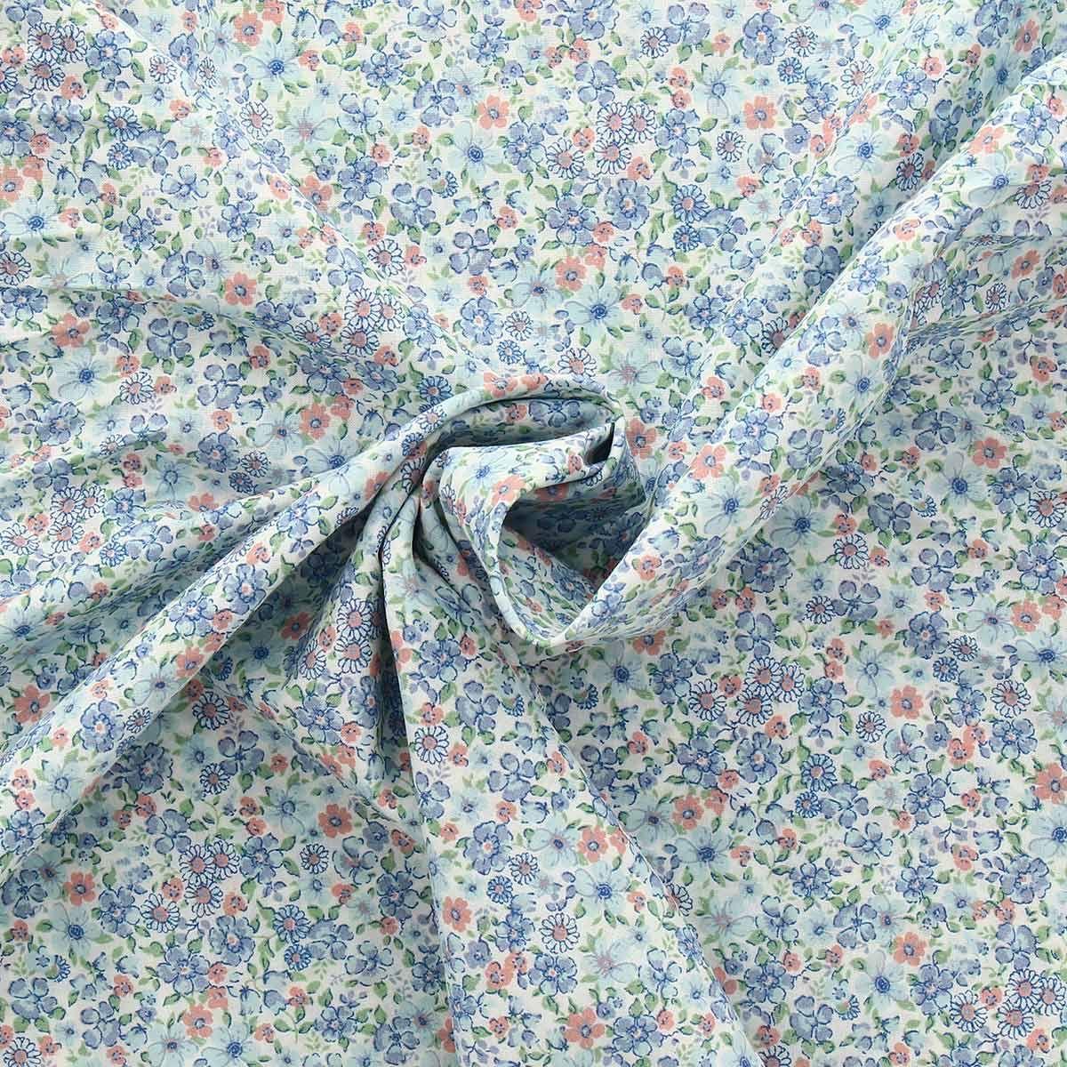 Tissu voile de coton fleuri BIO - Fleuri bleu pâle et rose