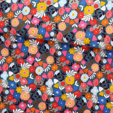 Tissu velours milleraies Dashwood - Corduroy - Fleurs fond gris