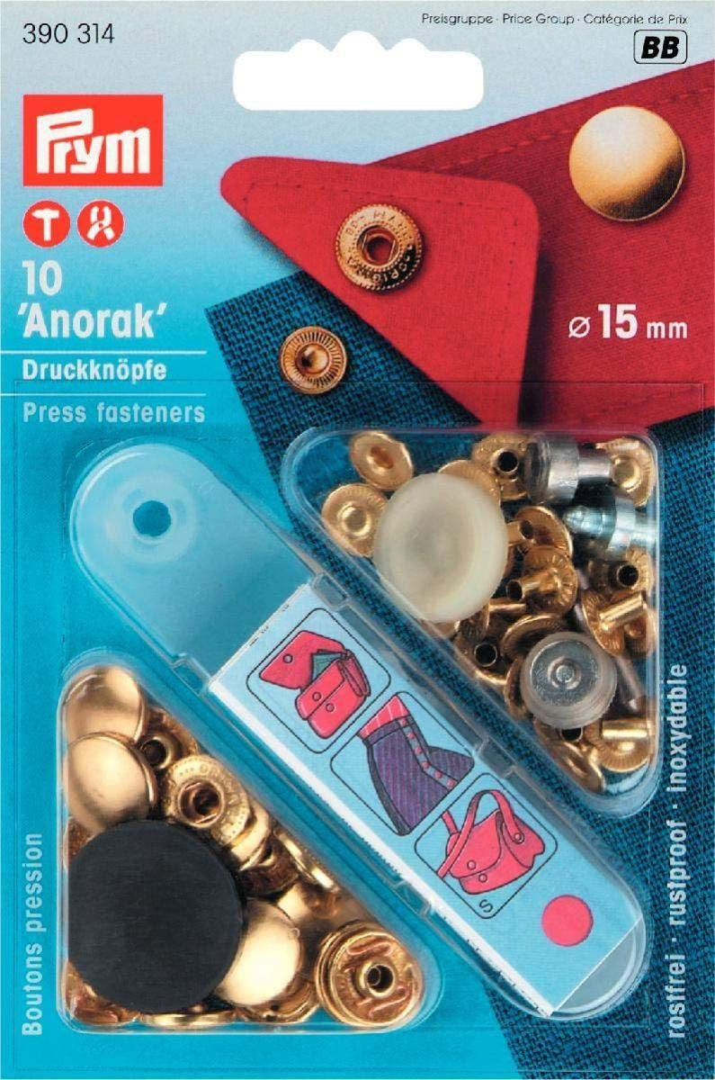 Boutons pression anorak Or avec outil 15 mm