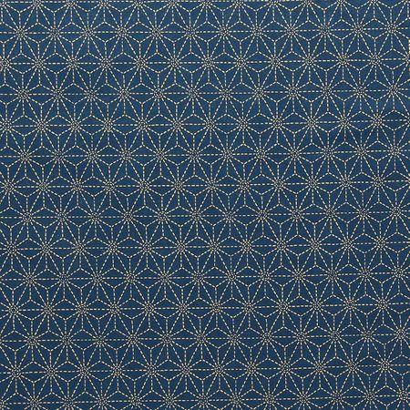 Tissu coton sashiko Sevenberry - Etoiles fond bleu marine clair