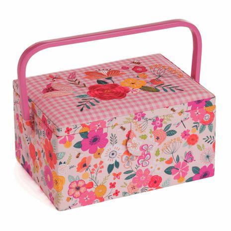 Boite à couture avec broderie - Jardin fleuri rose M