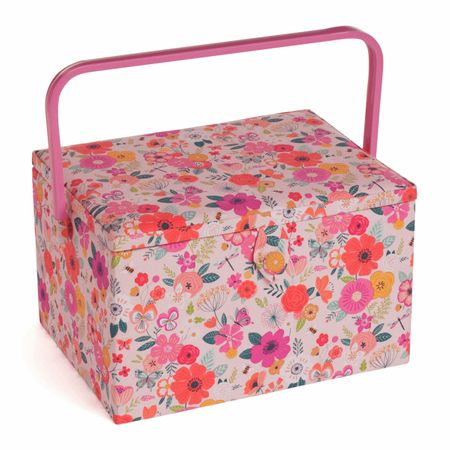 Boite à couture - Jardin fleuri rose L