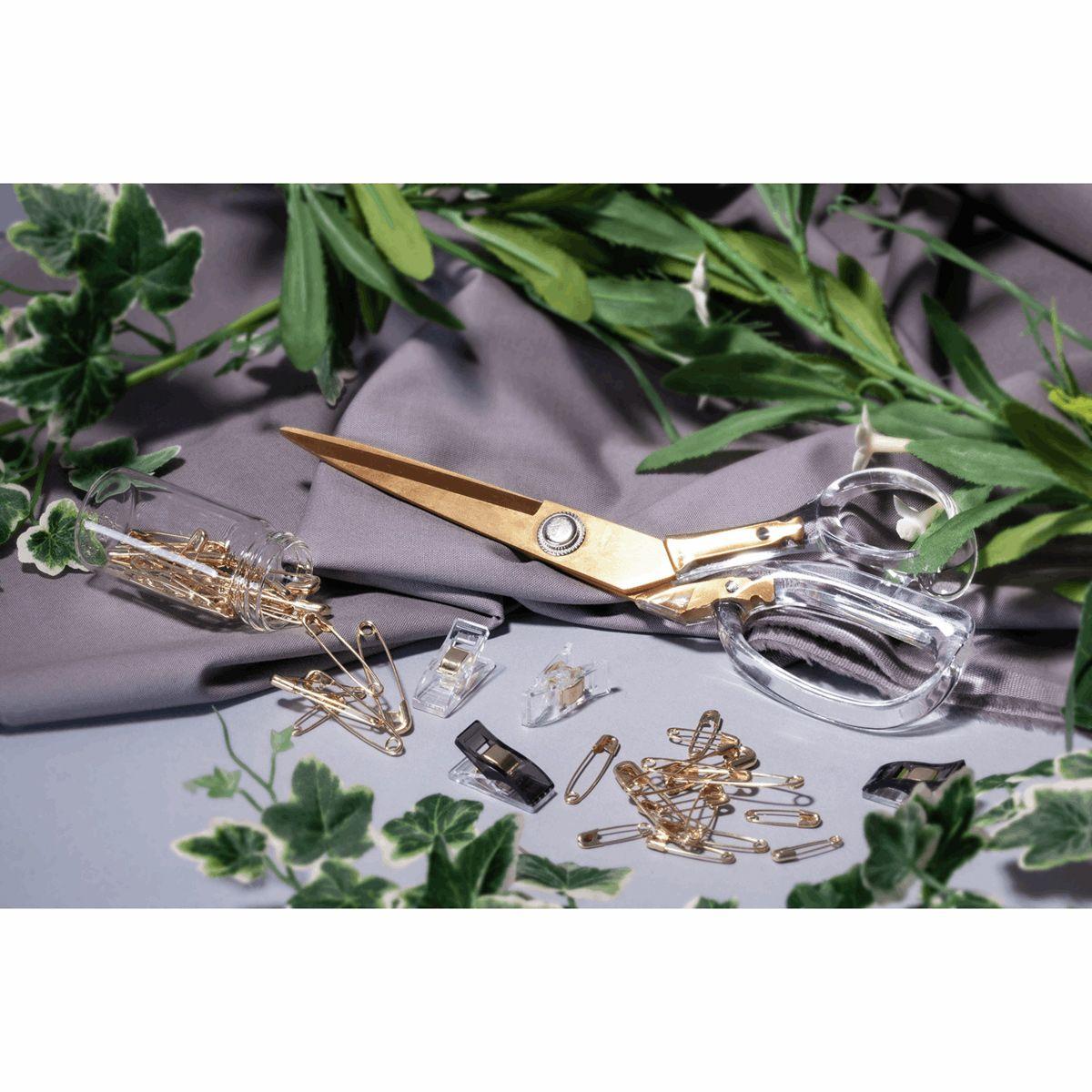 Ciseaux de couture tailleurs transparent et doré 20 cm