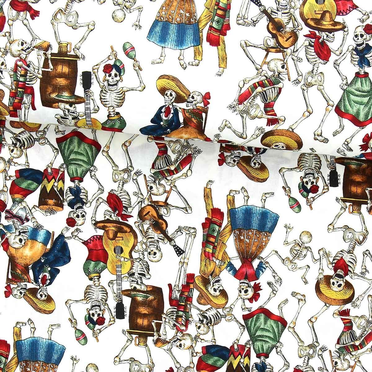 Tissu coton Alexander Henry - Folklorico - Blanc