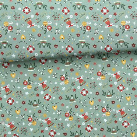 Tissu popeline de coton BIO - Clochettes et houx