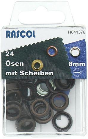 Boite 24 oeillets 8 mm avec outil de pose Rascol - Cuivre