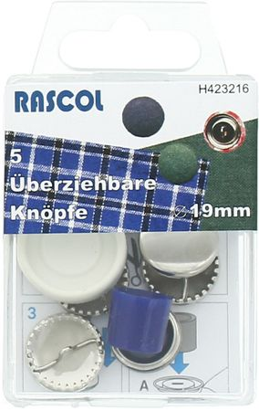 Boite de 5 boutons à recouvrir avec outil Rascol - 19 mm