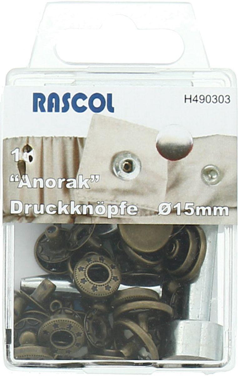 Boite de 10 boutons-pression anorak Rascol - 15 mm bronze
