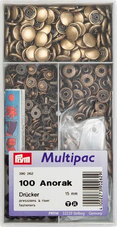 Multipac de 100 boutons pression Anorak - Laiton 15mm