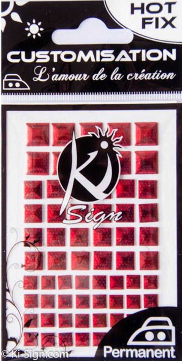 Clous thermocollants carrés métal - Rouge