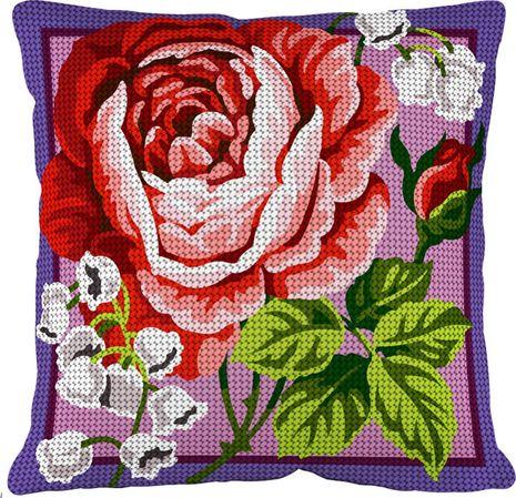Kit coussin gros trous à broder - Muguet et rose