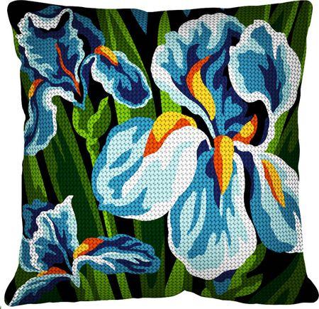 Kit coussin gros trous à broder - Les iris