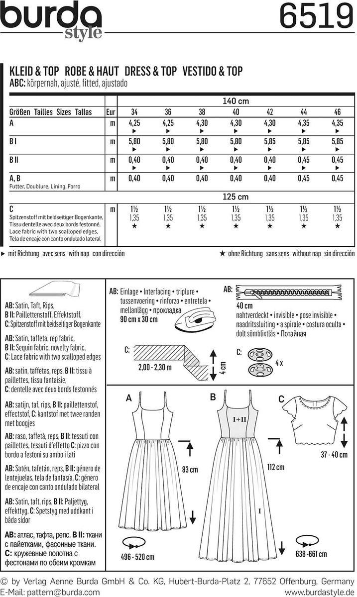 Patron de robe et haut - Burda 6519