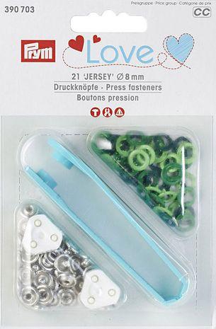 Boutons pression jersey assortiments de verts avec outil 8 mm