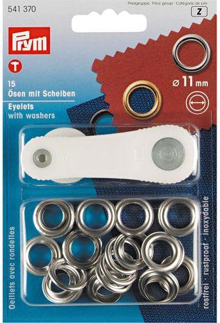 Boite 15 oeillets 11 mm avec outil de pose - Argent