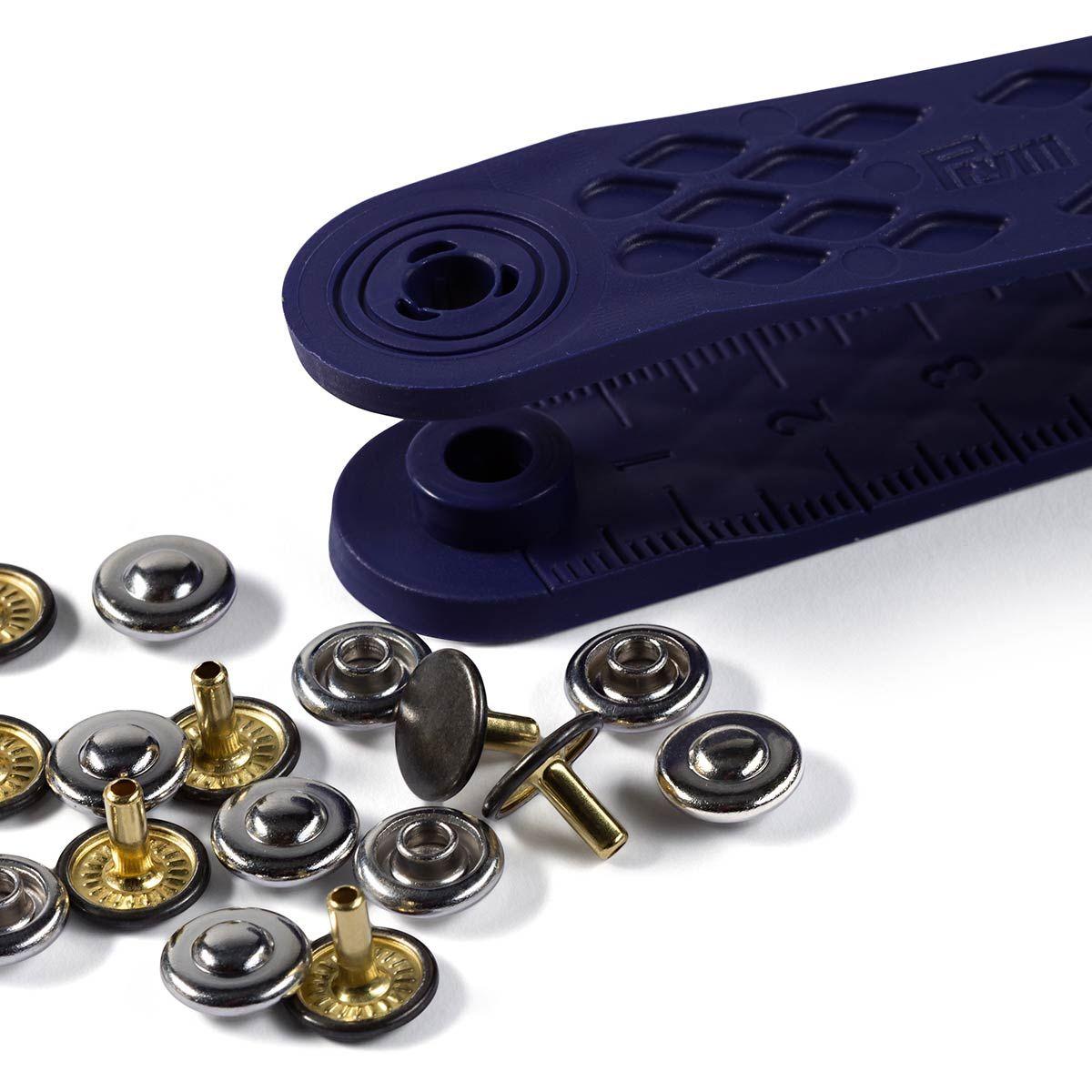 Boite 24 rivets 9 mm avec outil - Argent et Noir