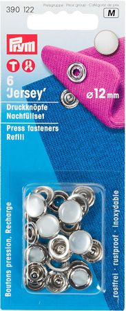 Recharge boutons pression jersey 12 mm Nacré