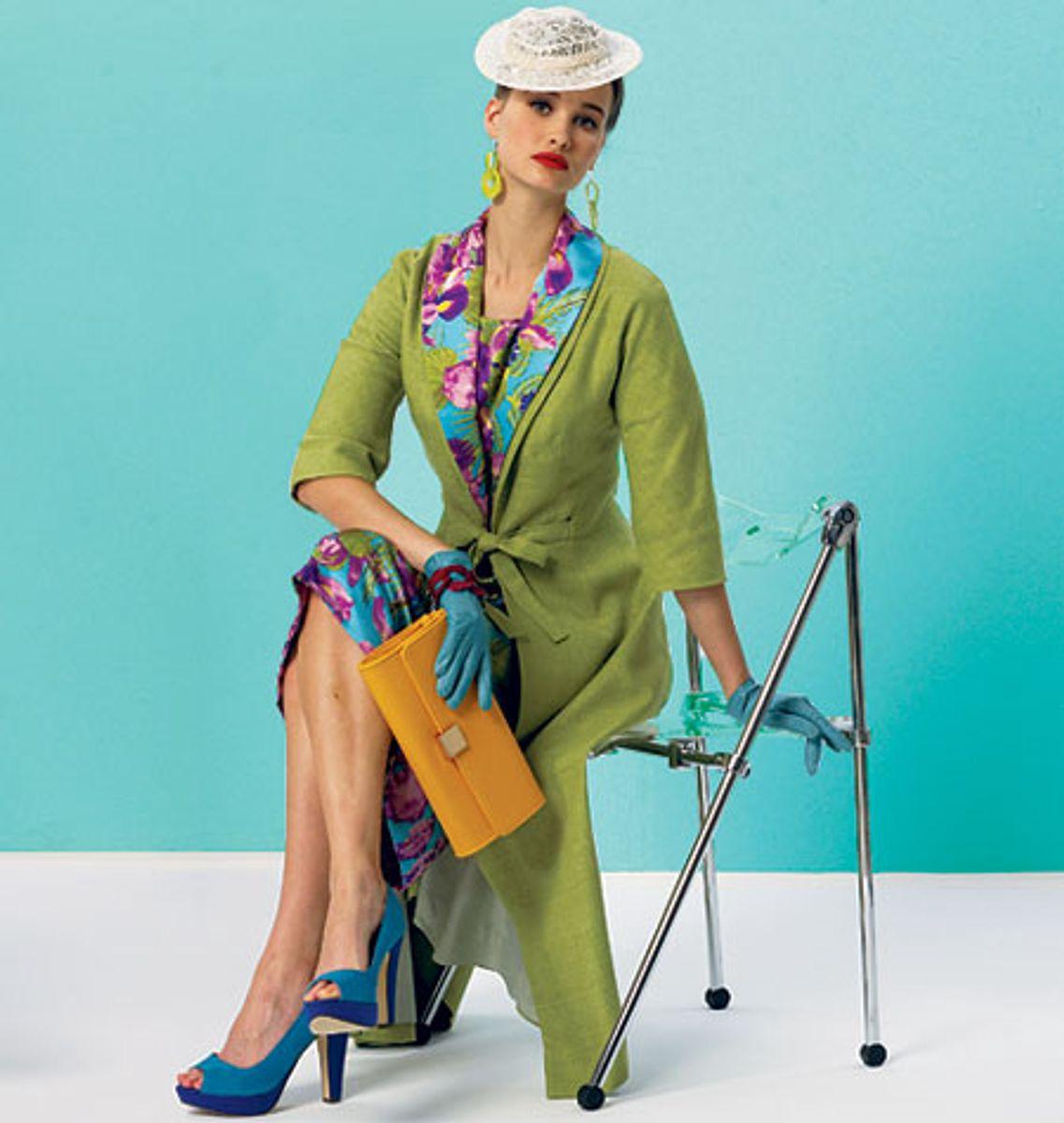 Patron de robe, ceinture, manteau et col amovible - Vogue 8875