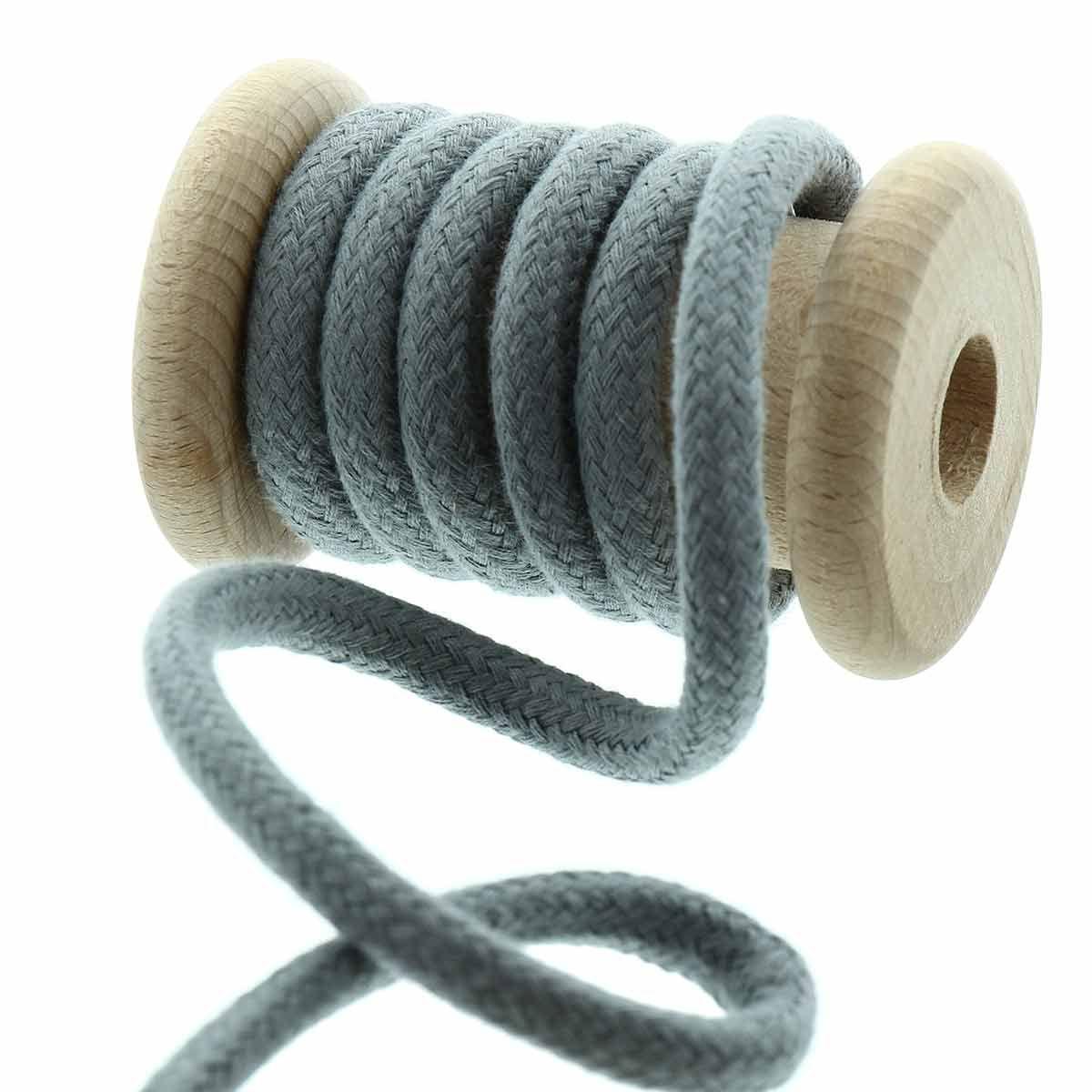 Cordon coton tressé 8 mm - Gris