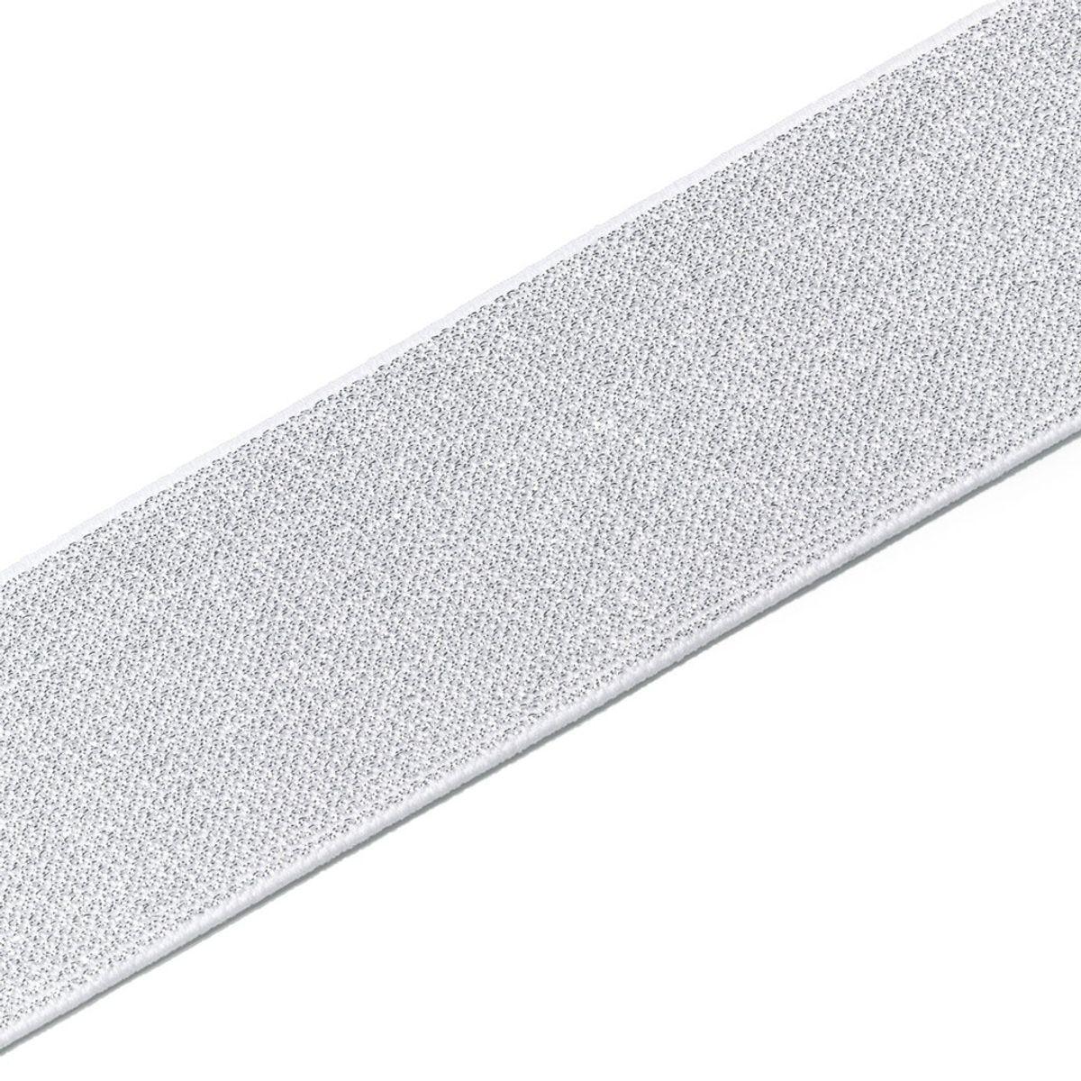 Elastique Color blanc et argent 50 mm - Au mètre