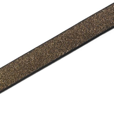Elastique Color or et noir 25 mm - Au mètre