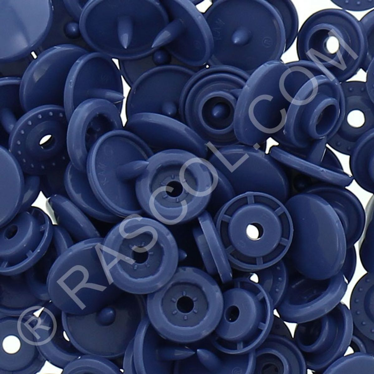 Sachet de 25 pressions résine KAM ronds - Bleu jeans